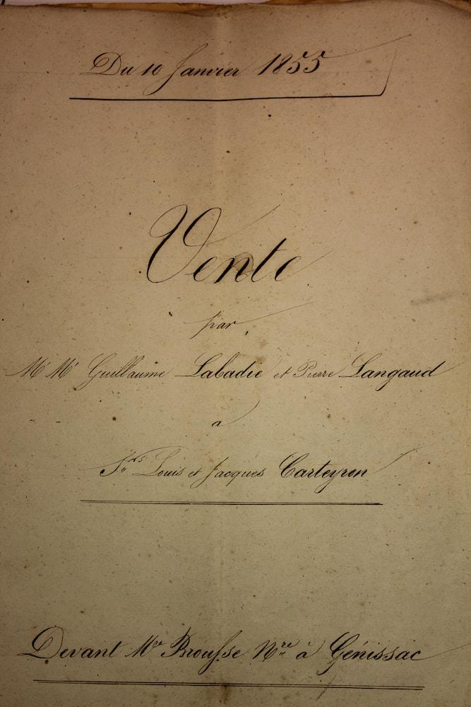 Certificat d'acte de vente de la propriété du Château Penin